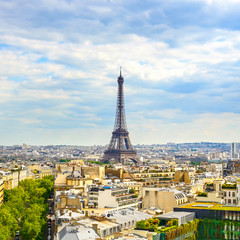 Eiffel Tower landmark, view from Arc de Triomphe. Paris, France.