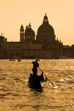 Gondola on the Grand Canal in the evening hour, Venice, Italy, E