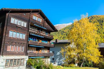 Famous swiss city Zermatt in the valley