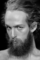 hipster man face long beard and hair black and white