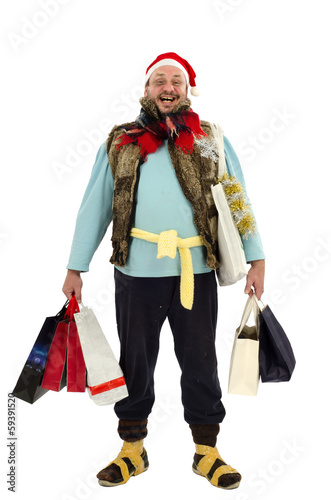 Homeless man is happy Christmas sale