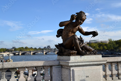 Sculpture of the Alexander Bridge in Paris