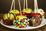 Candied apples on sticks close up