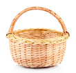 Empty wicker basket, isolated on white
