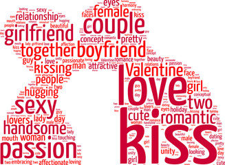 Valentine day wordcloud. Kissing lovers tagcloud illustration