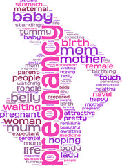 pregnancy concept tag cloud silhouette of a pregnant woman