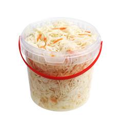 Sauerkraut in a plastic bucket