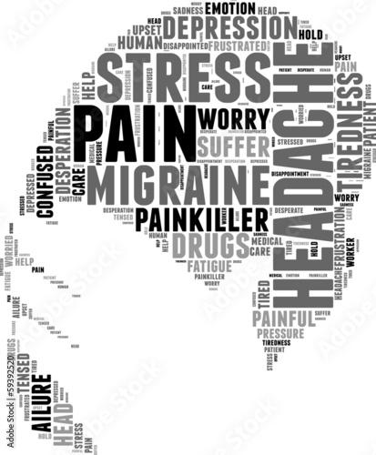 headache symbol tag cloud  illustration