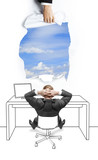 businessman sitting  and looking at sky