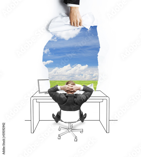 businessman looking at field