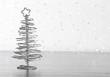 metallic modern christmas tree on wood table - 59393316