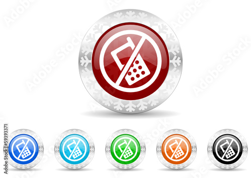 no phones icon christmas vector set