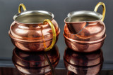 Old copper cup and jug , tin plated inside