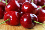 Cherry closeup on wooden surface