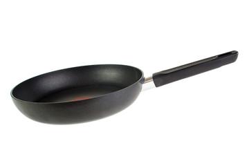 Black teflon coated frying pan , isolated on white
