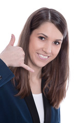 Frau im Callcenter mit Headset an der Hotline isoliert