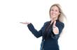 Erfolgreiche Geschäftsfrau isoliert macht Promotion