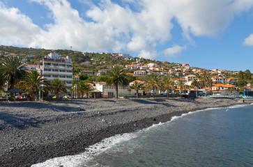 Pebble beach in Santa Cruz, Madeira island, Portugal