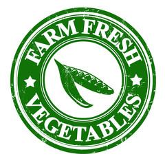 Green peas vegetable stamp or label