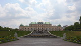 Baroque palace of Belvedere complex with fountain