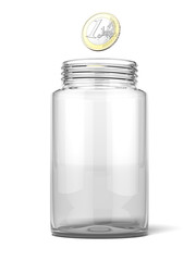 Euro dropping into an empty jar