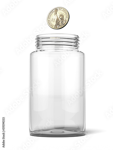Dollar dropping into an empty jar