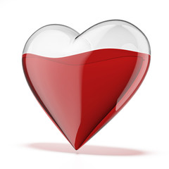 glass heart filled with red liquid