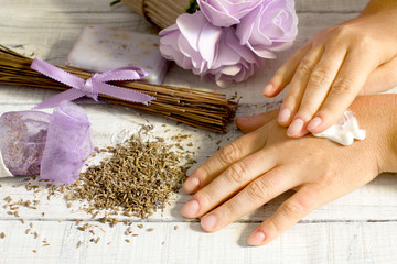 lavender cream manicure