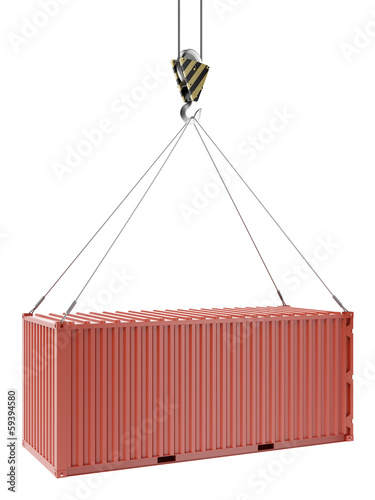 Crane and red container