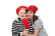granddaughter and grandma with red heart