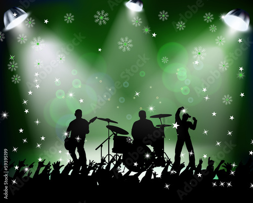 People dancing in rock concert Christmas party Green background