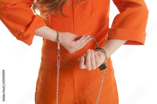 Woman take off handcuffs close
