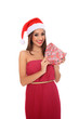 beautiful young girl with santa claus hat