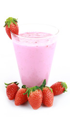 strawberry smoothie on a white