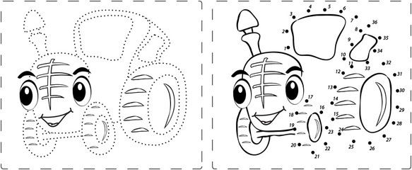 Funny tractor drawing with dots and digits
