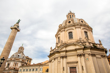 Traian column and Santa Maria di Loreto in Rome, Italy