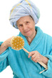 woman with massage sponge