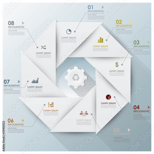 Modern Business Infographic Propeller Origami Style Design Templ