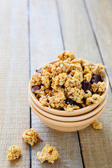 granola with nuts and chocolate
