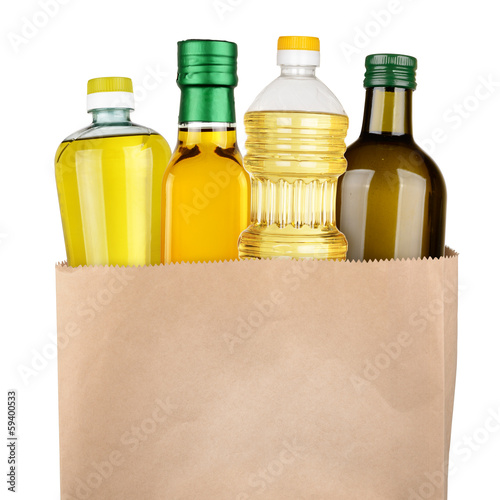 Bag of oil bottles