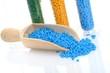 Holzlot mit blauem Masterbatch Kunststoffgranulat