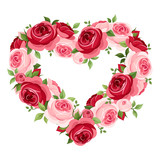 Roses heart frame. Vector illustration.