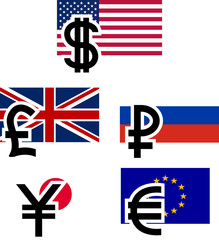 currency symbols and flags. vector illustration