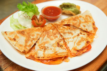 Quesadilla in plate, close-up