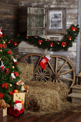 Christmas fur-tree in a rural interior