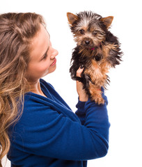Woman with a little puppy. isolated over white