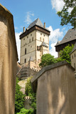 Karlstejn castle on green hill, Prague
