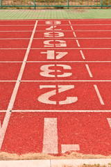 numbers on running tracks of outdoor at...