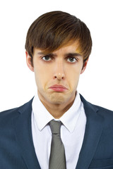 young depressed businessman on white background