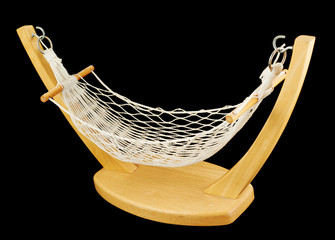 Hammock made of net and wood isolated